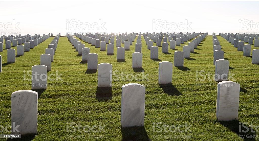 Military Headstones All The Way To Horizon stock photo