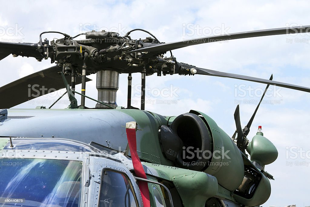 Military Helicopter rotor close-Up stock photo