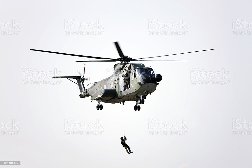 Military Helicopter with Marines. Color Image stock photo