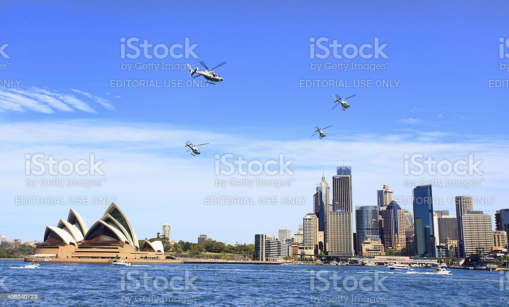 Military helicopters fly over Sydney Australia royalty-free stock photo