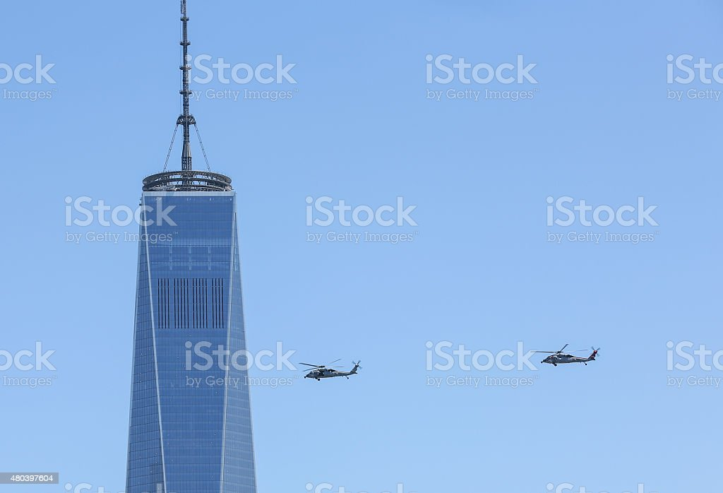 Military helicopters, New York. stock photo