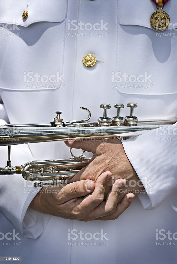 Military honor guard bugler (color) stock photo