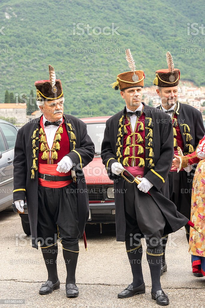 Military in traditional historic uniform at the parade. stock photo