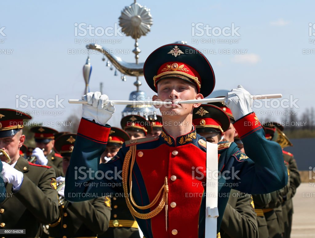 Military instrumentalist in the ranks stock photo