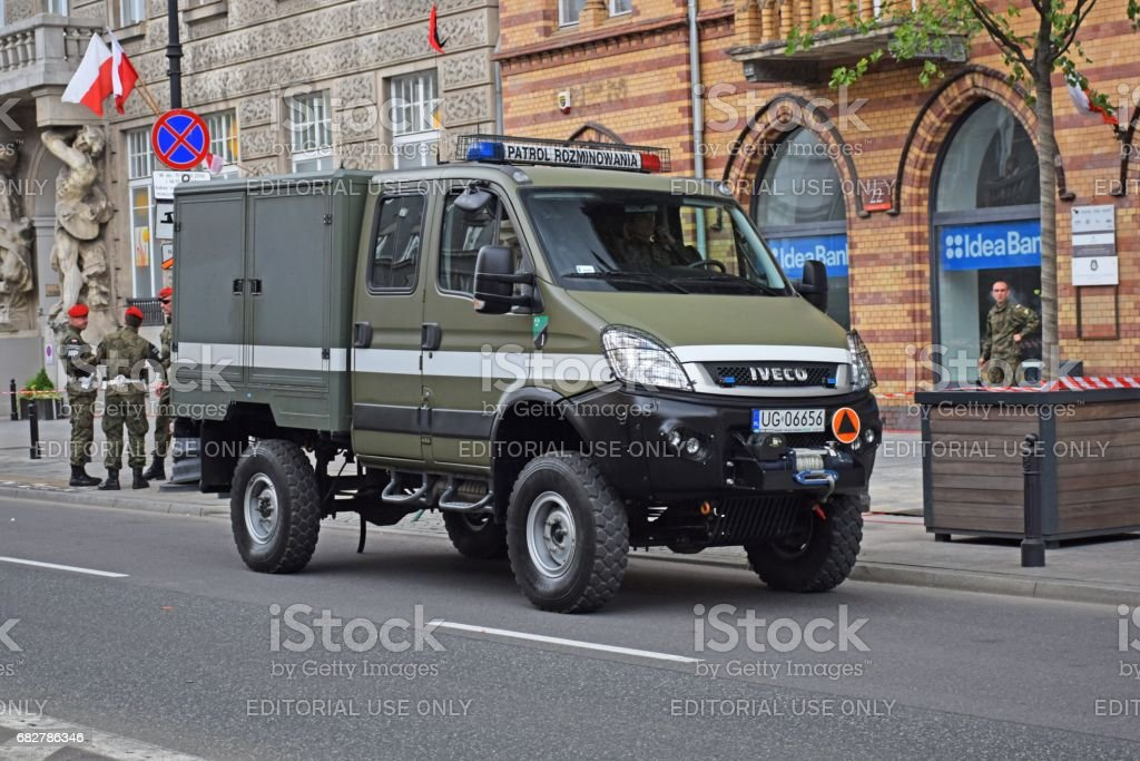 Military IVECO Daily on the street stock photo