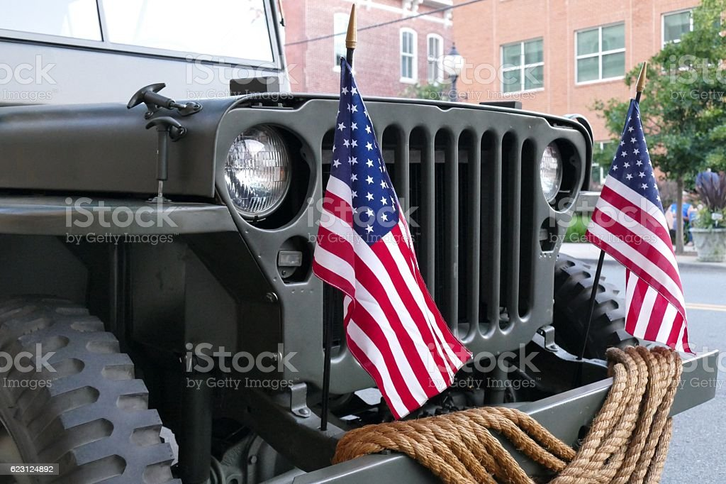 Military Jeep & American Flags stock photo