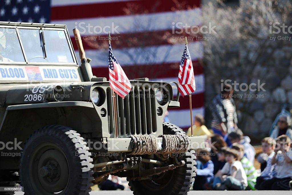 Military  Jeep in Parade stock photo