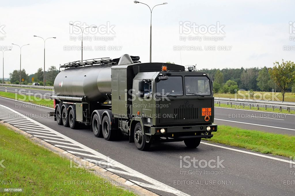Military Jelcz 642 fuel-tanker on the road stock photo