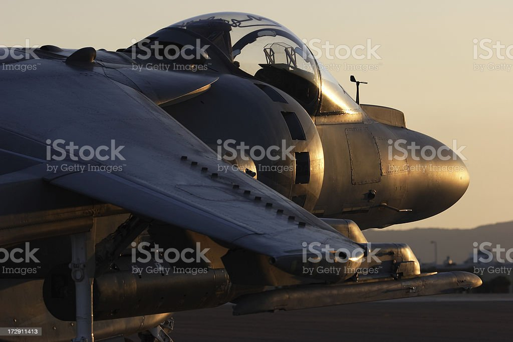 Military Jet at Sunset royalty-free stock photo