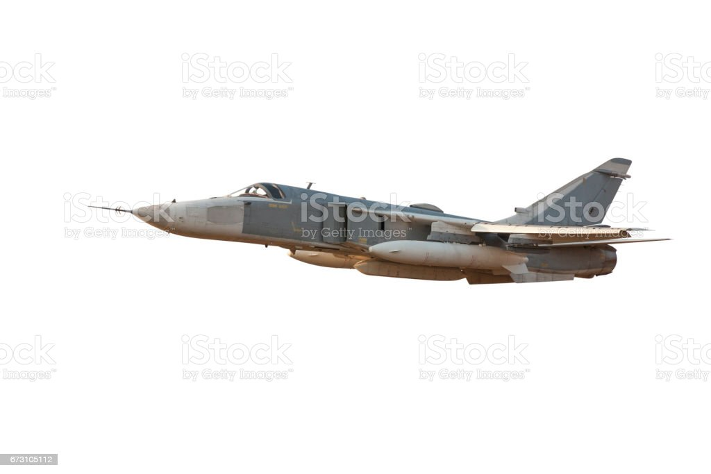 Military jet bomber Su-24 Fencer flying a white background stock photo