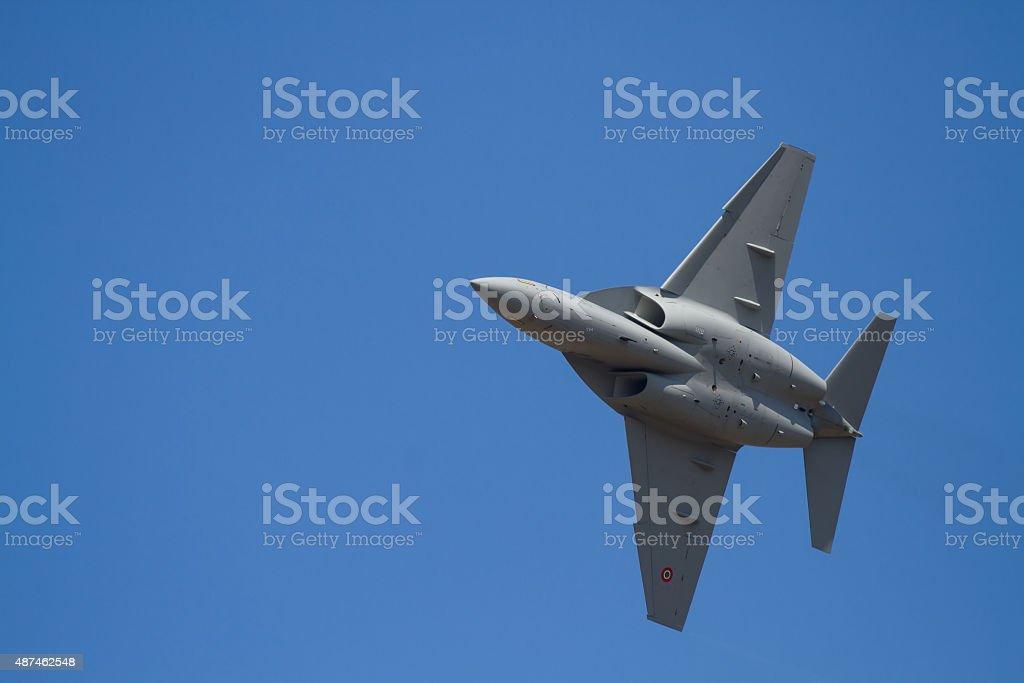 Military jet on training stock photo