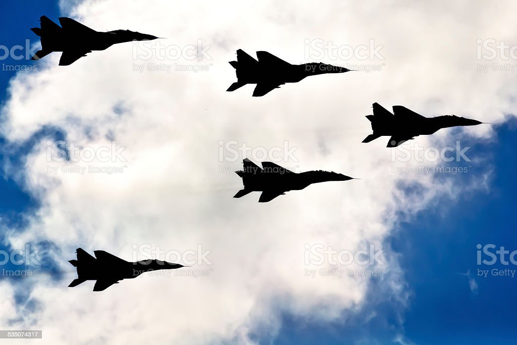 Military jets aircraft MiG-29 stock photo