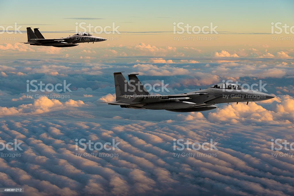 Military Jets in Flight stock photo