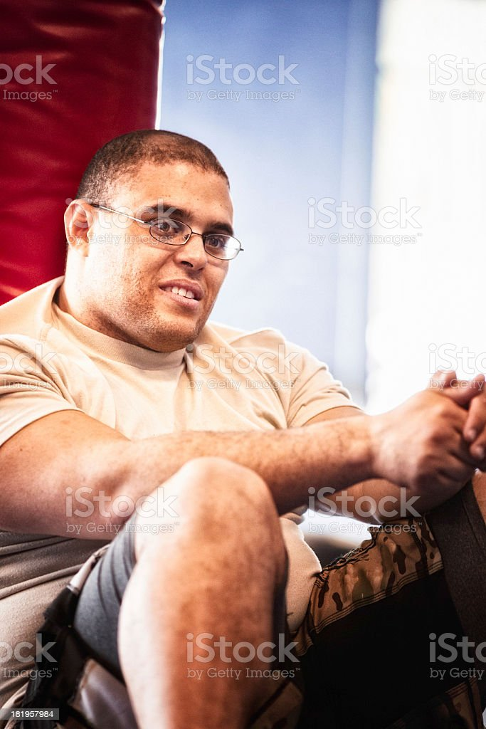 Military Man at Rest in Gym royalty-free stock photo