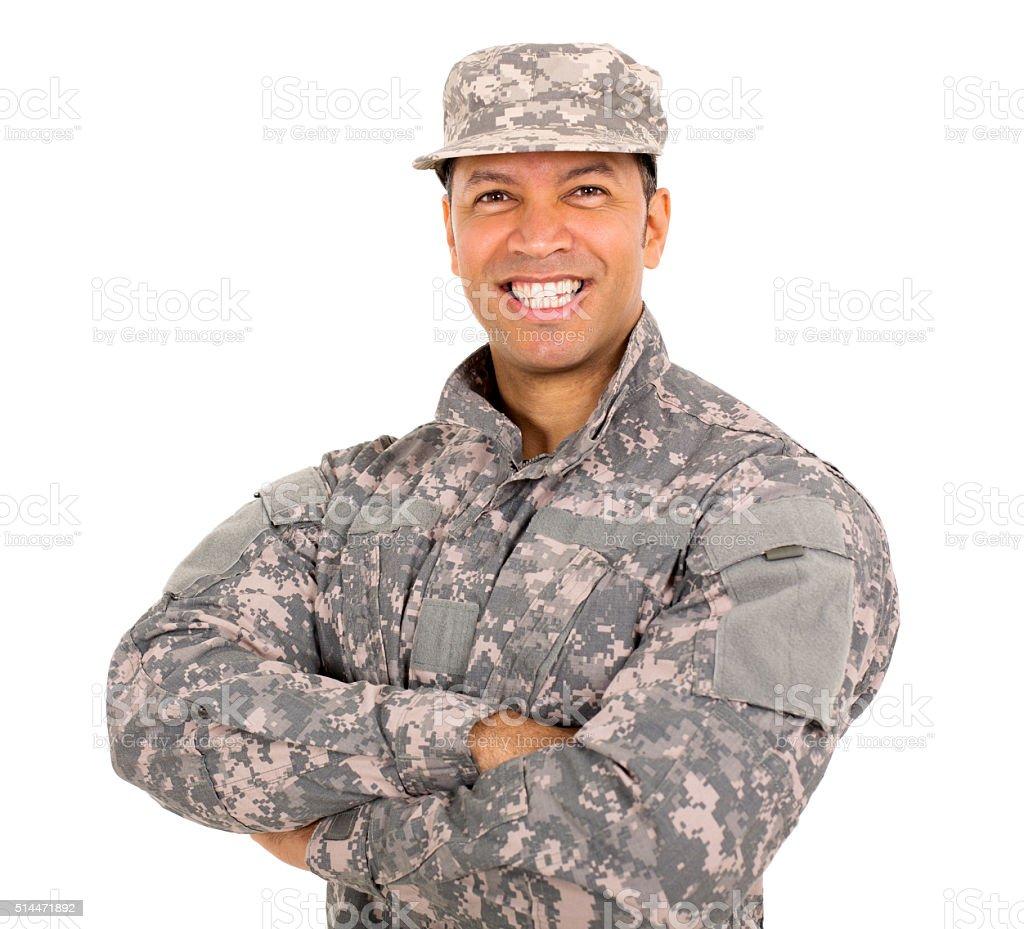 military man close up portrait stock photo