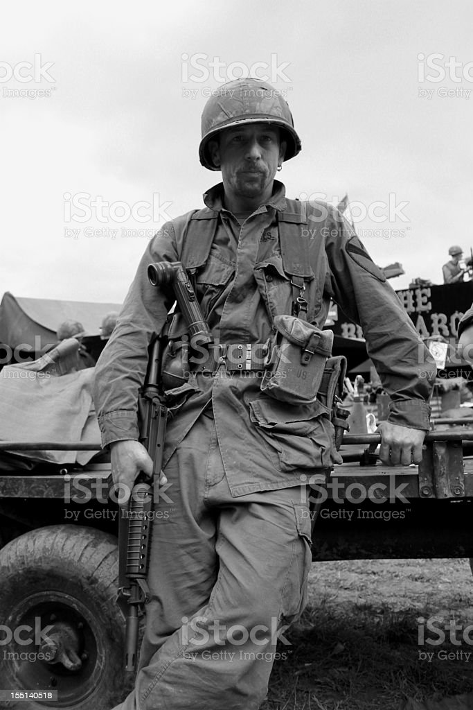 Military man in a black and white photo stock photo