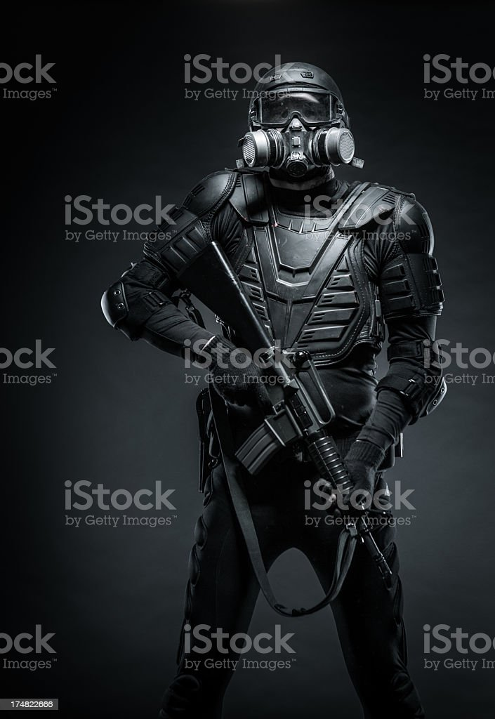 Military Man in Armor Black Ops Terrorist Riot Police Cop royalty-free stock photo