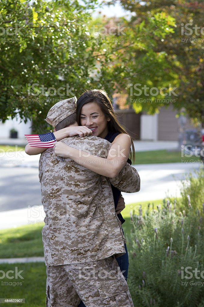 Military Man Returns From Deployment Vertical royalty-free stock photo