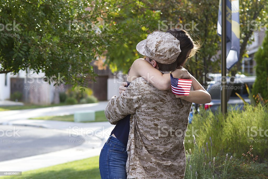 Military Man Returns From War WS royalty-free stock photo