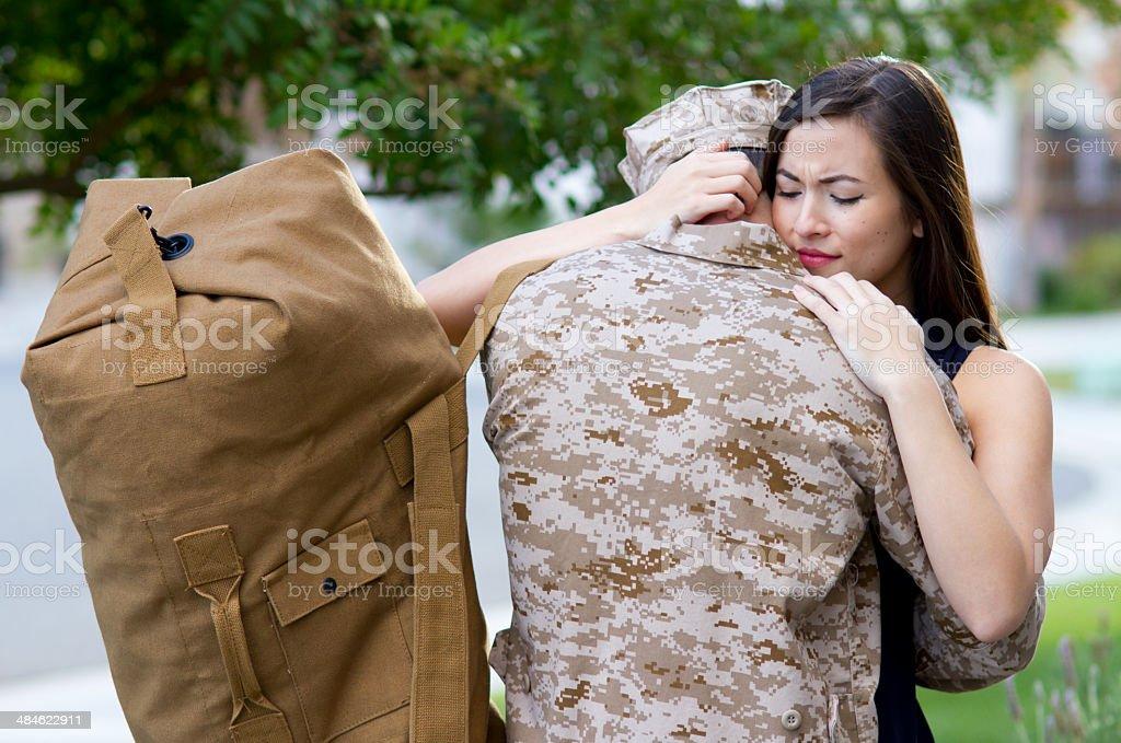 Military Man Says Goodbye WS royalty-free stock photo