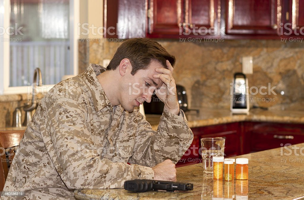 Military Man Suicide Thoughts MS stock photo