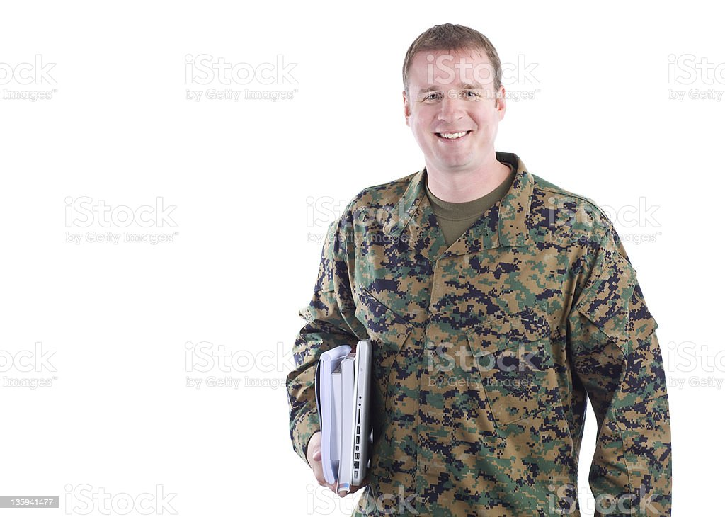 Military Man with School Books royalty-free stock photo