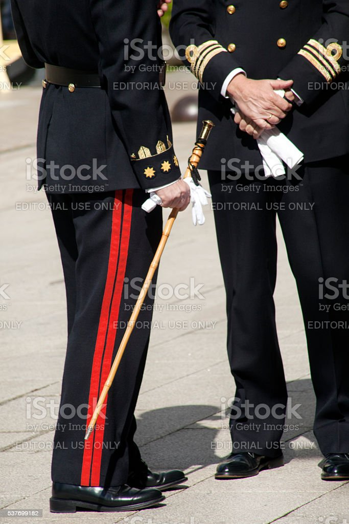 Military men in full dress uniform stock photo