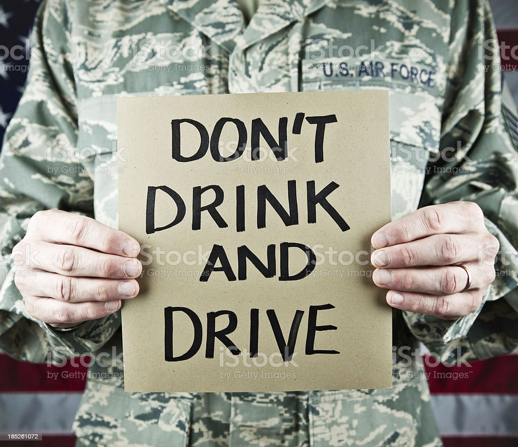 Military Message: Don't Drink and Drive stock photo
