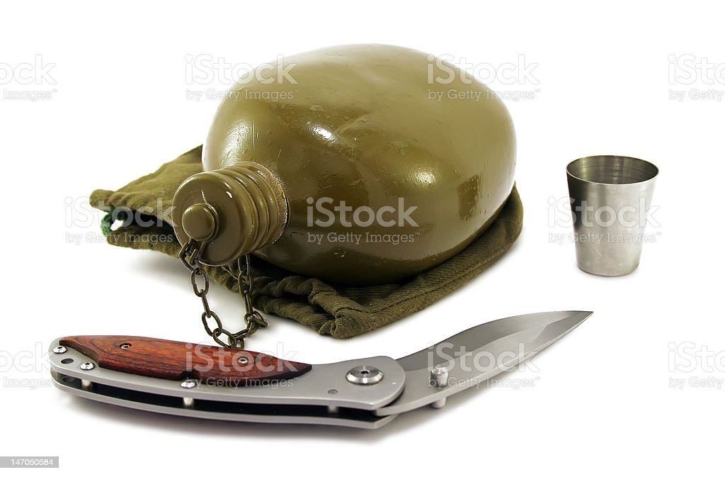 Military metal flask and knife on white royalty-free stock photo