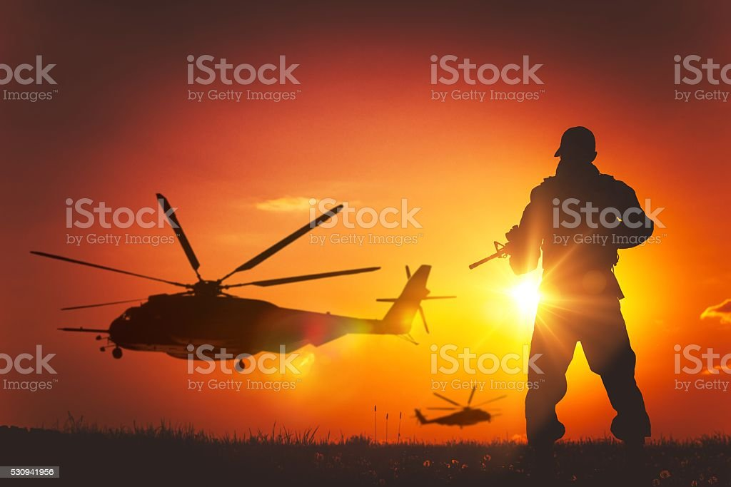 Military Mission at Sunset stock photo