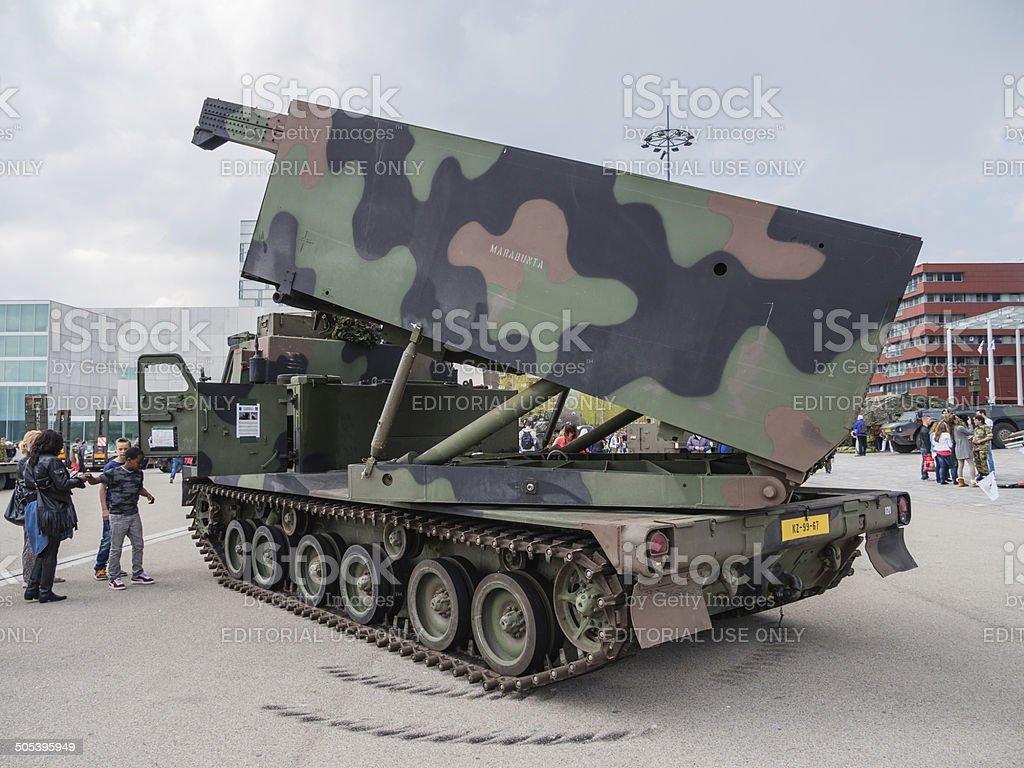Military MLRS rocket launcher stock photo