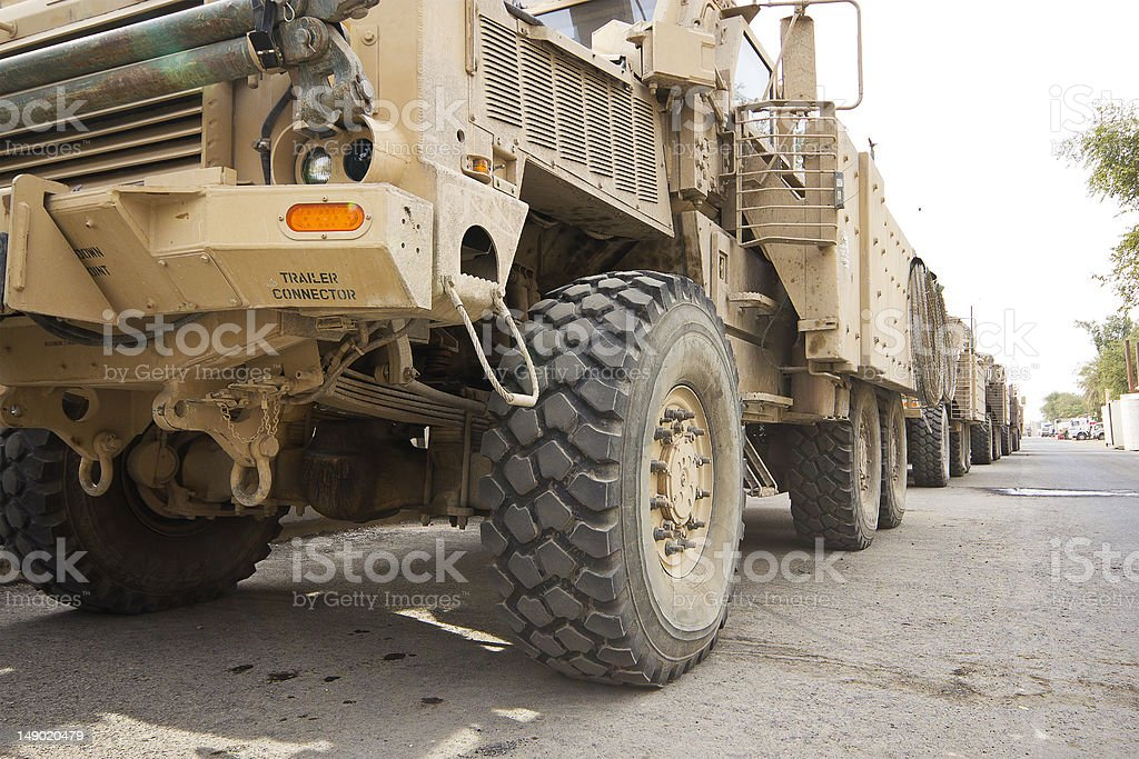 Military MRAP Trucks Ready For a Combat Convoy or Patrol stock photo