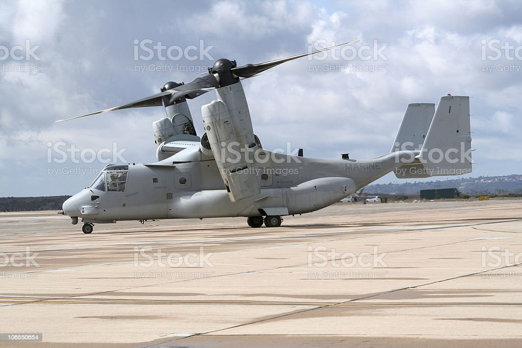 A military MV-22 Osprey preparing to takeoff on a cloudy day stock photo