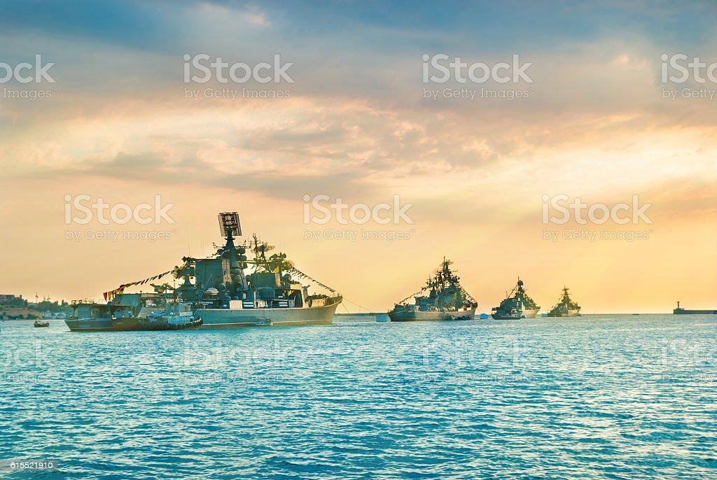 Military navy ships in a sea bay stock photo