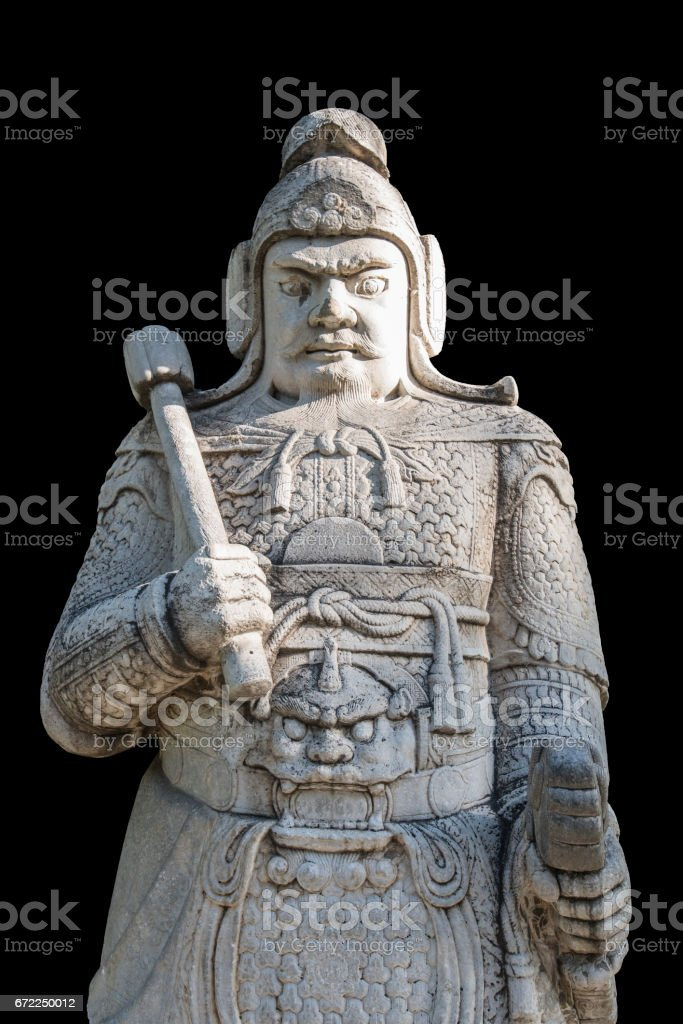A military officer stone statue in God Way Ming Tombs, Beijing. stock photo