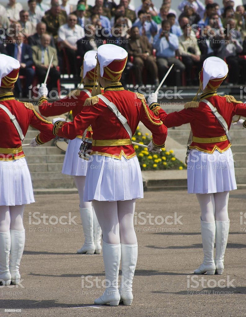 Military orchestra of girls-drummers stock photo