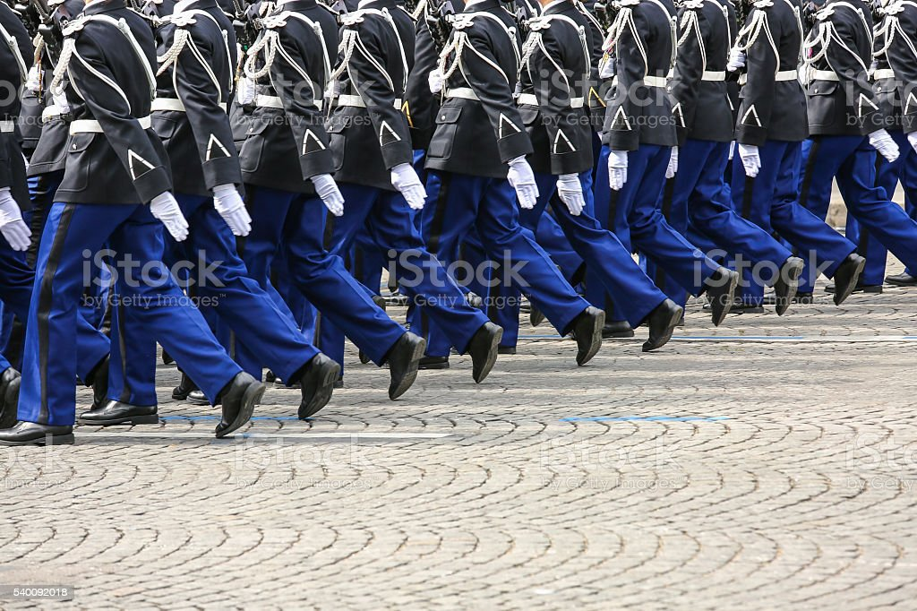 Military parade during the ceremonial stock photo