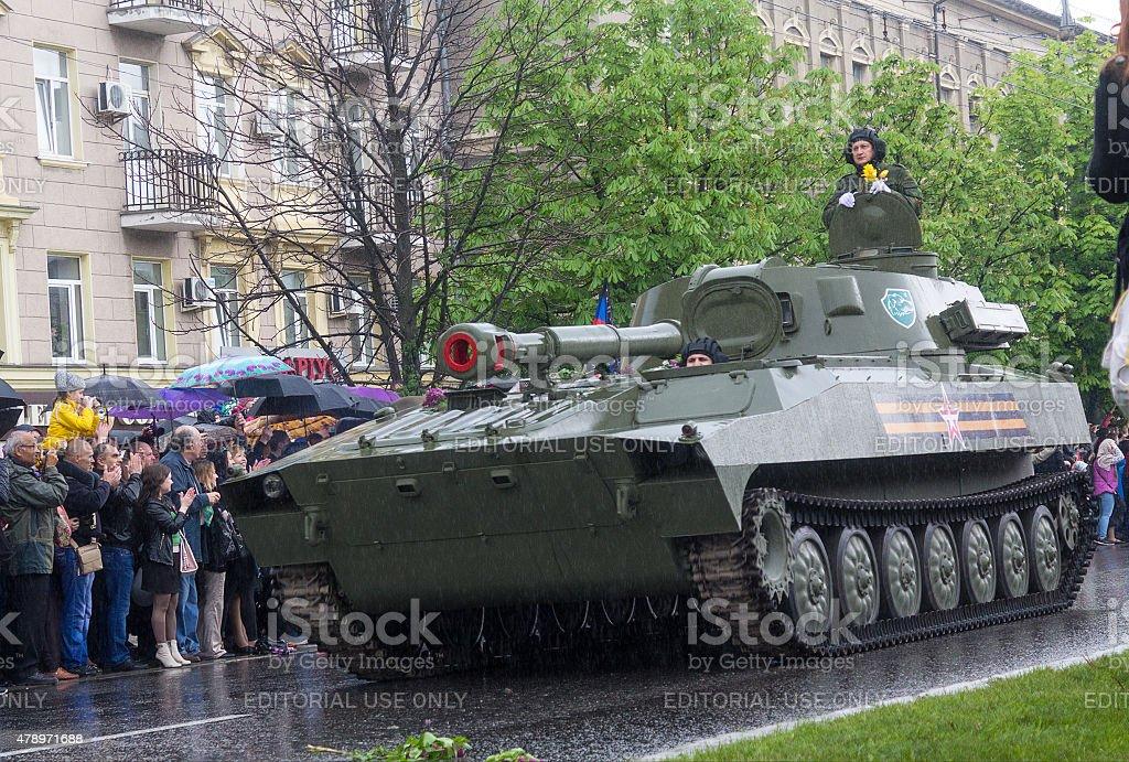 Military parade in Donetsk stock photo
