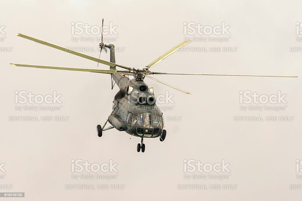 Military parade in Novi Sad - Military helicopter stock photo