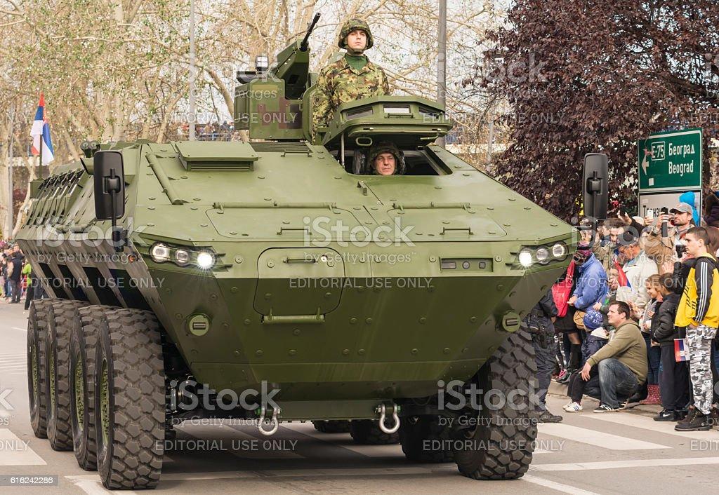 Military parade in Novi Sad, Serbia stock photo