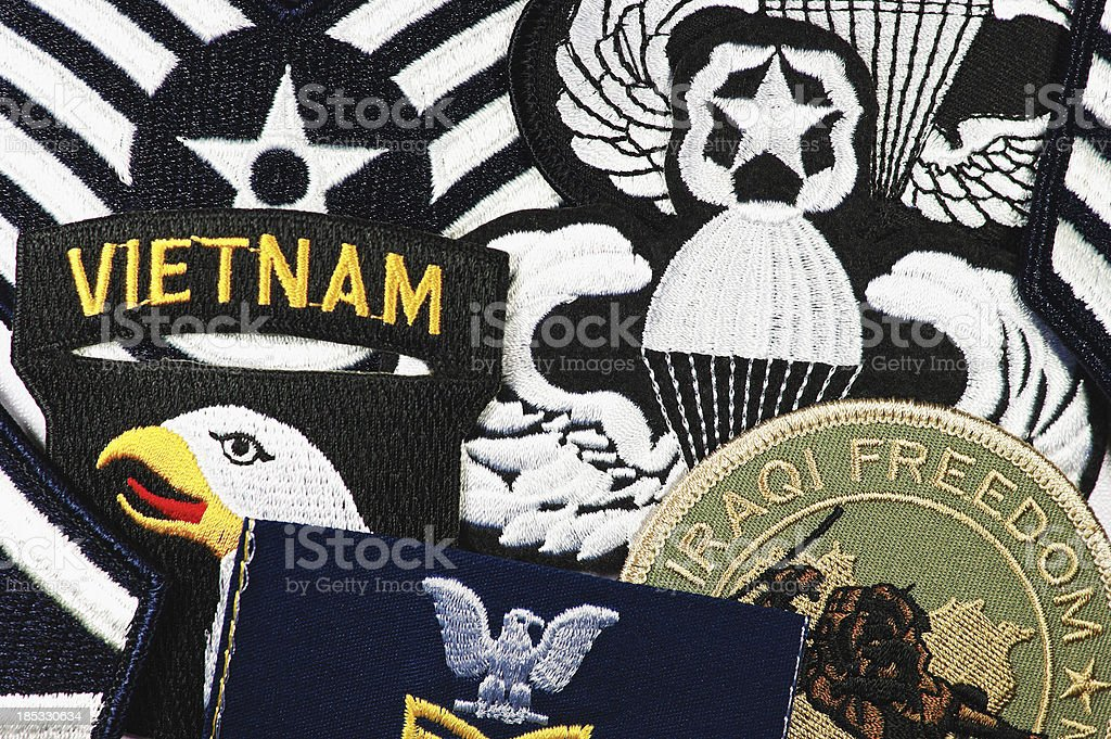 US Military Patches Montage royalty-free stock photo