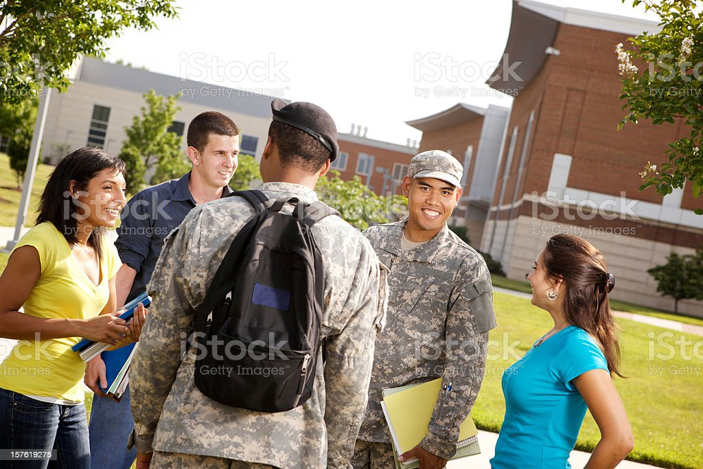 Military personal on ROTC military campus stock photo
