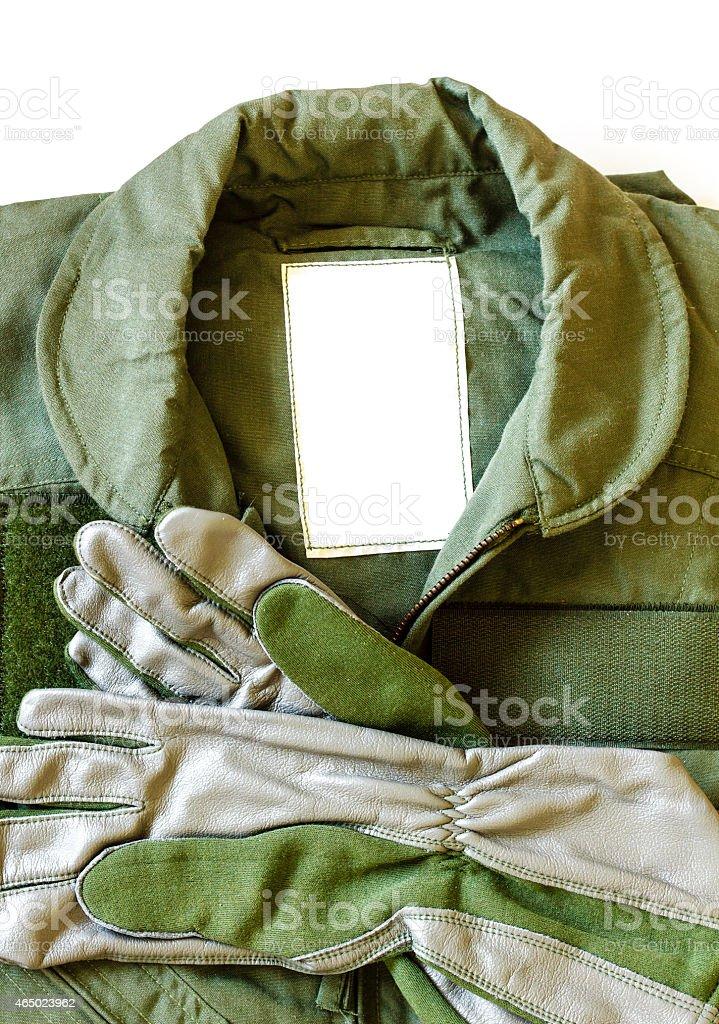 Military pilot flight suit stock photo