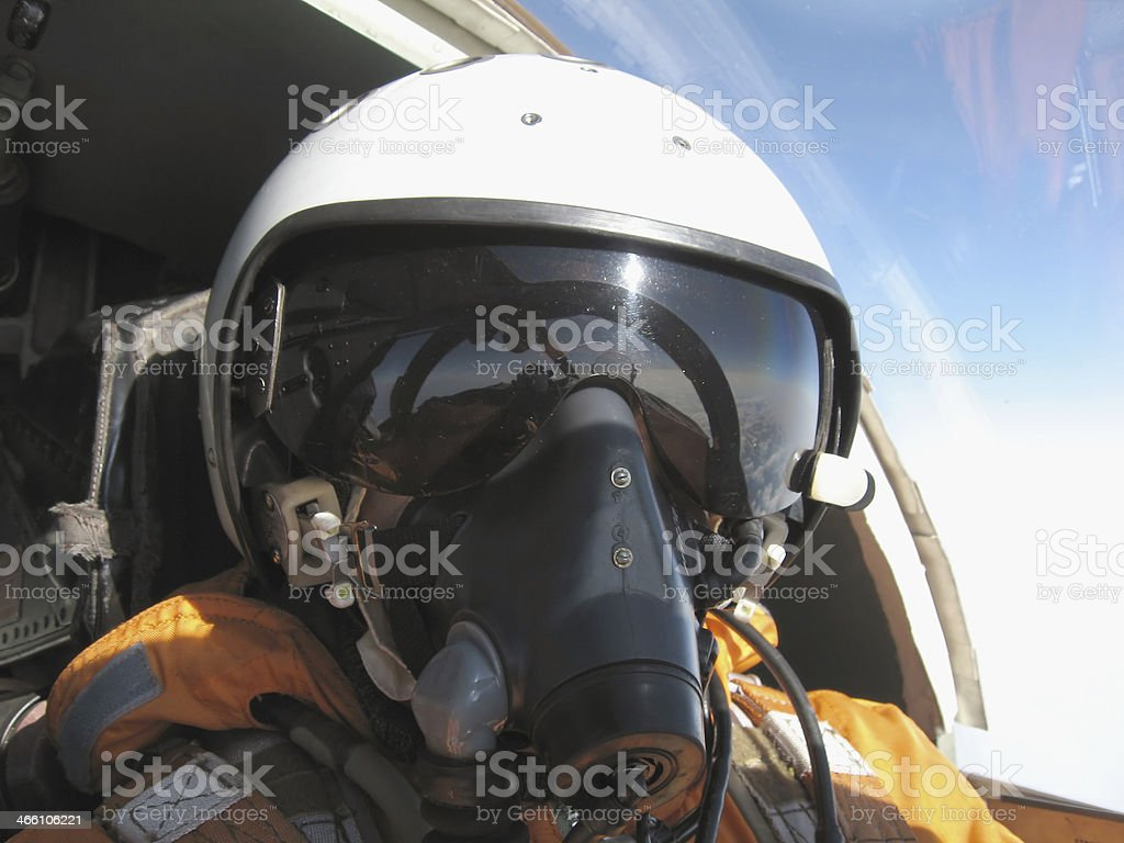 military pilot in the plane royalty-free stock photo
