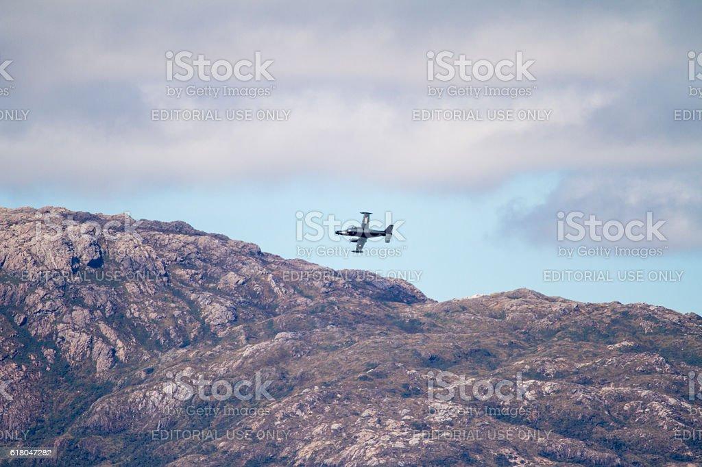 Military Plane in Chilean Fijords stock photo