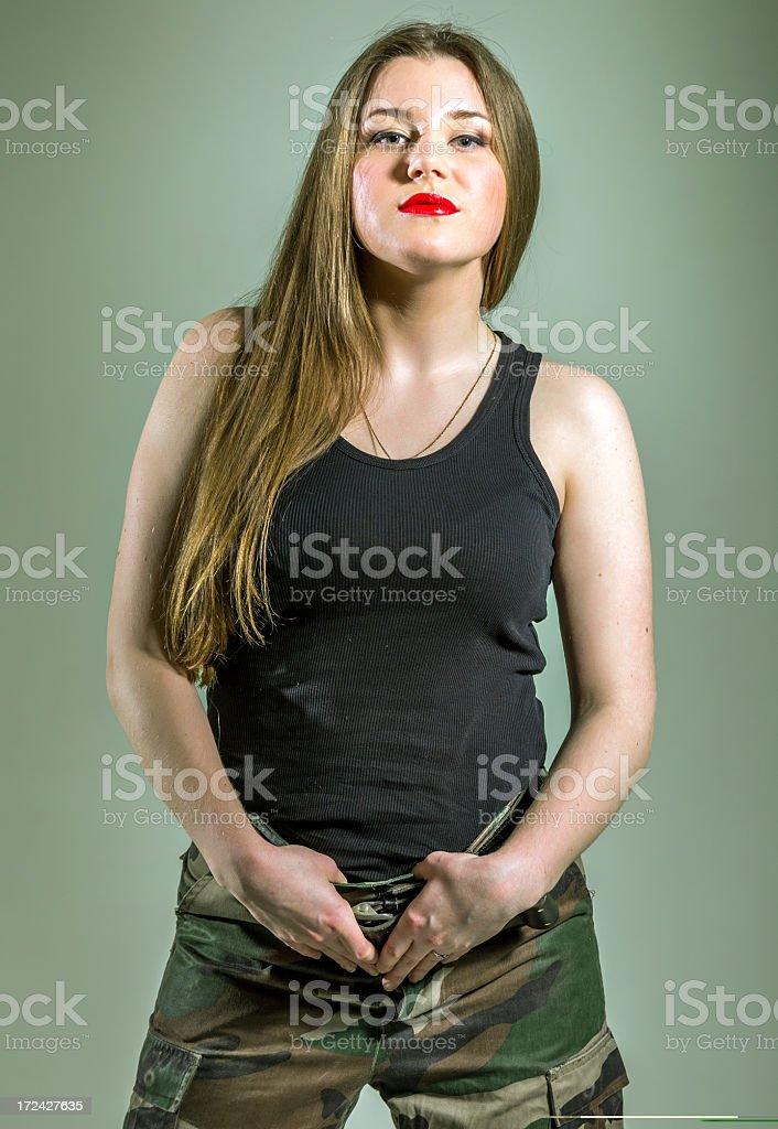 Military pretty woman royalty-free stock photo