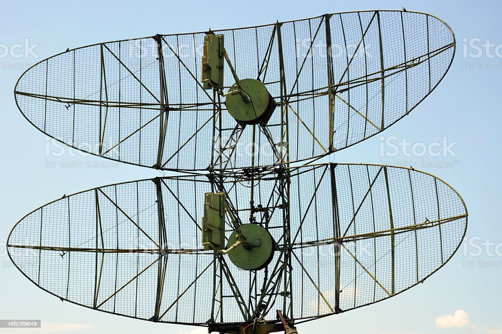 military radar against the sky stock photo