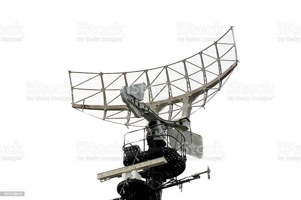 military radar air on a warship stock photo