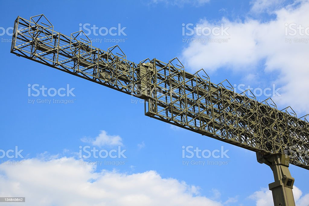 Military radar of the anti-aircraft system. stock photo