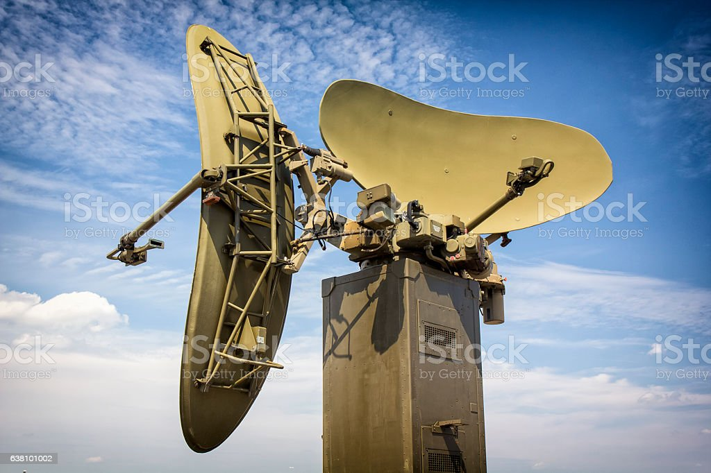 Military radar on the airfield stock photo